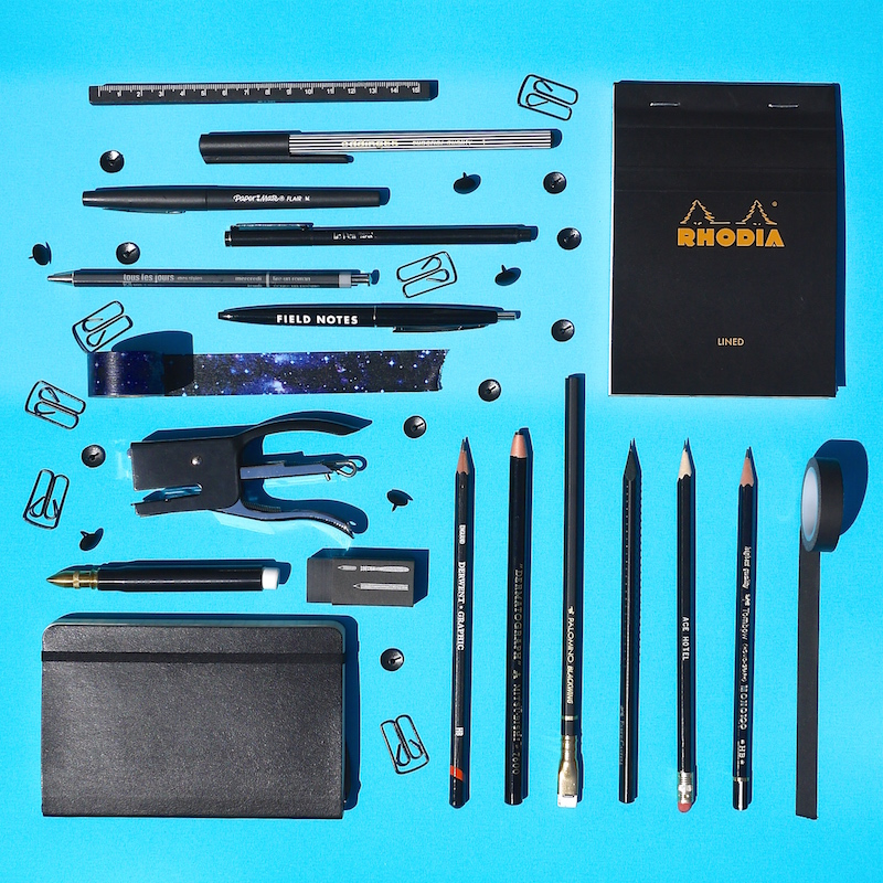 Stationery Organised Neatly Black